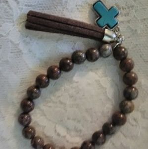 New Brown Beaded Bracelet/Torq. Cross